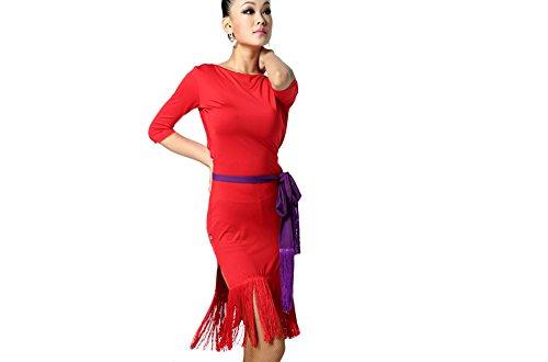 Dance Costumes Performance Wear (Motony Women Latin Dance Dress New Style Latin Dance Costume Adult Dance Practice Performance Wear Red M)