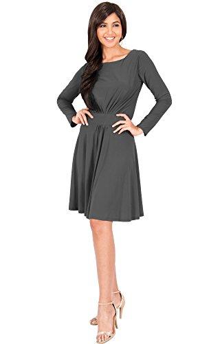 KOH KOH Petite Womens Long Sleeve Dressy A-line Fall Winter Formal Flowy Work Empire Waist Knee Length Vintage Swing Modest Cute Abaya Mini Midi Dress Dresses, Pewter Gray Grey S 4-6