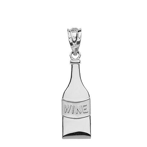 High Polish 925 Sterling Silver Bottle Of Wine Charm Pendant