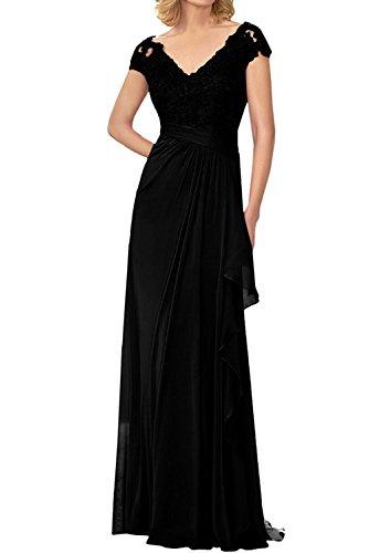 La Schwarz Lang Braut Elegant mia Kleider Lila Spitze Kurzarm Abendkleider Abschlussballkleider Brautmutterkleider Jugendweihe rg7rqYw