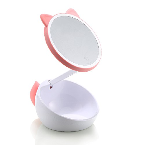 Remax Cute Pink Cat Ear Mirror Light Up Touch Screen Lovely Lighted Makeup Mirror Vanity Mirror with Touch Screen Dimming Usb Charging Adjustable Height Storage High Definition Clarity Cosmetic Mirror