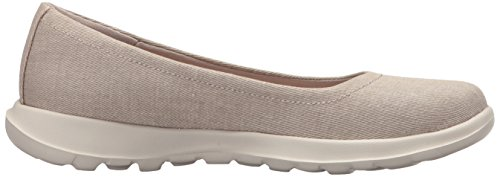 Beige Toe Flats Closed 15393 Taupe Ballet Skechers Women's 8qT6O