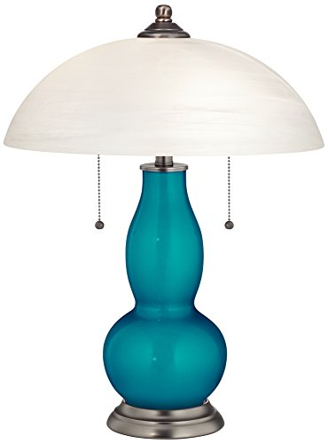 Turquoise Metallic Gourd-Shaped Table Lamp with Alabaster (Turquoise Handcrafted Lamp)
