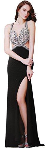Meier Women's Cut Out Side Sheer Rhinestone Top Pageant Formal Prom Dress-8