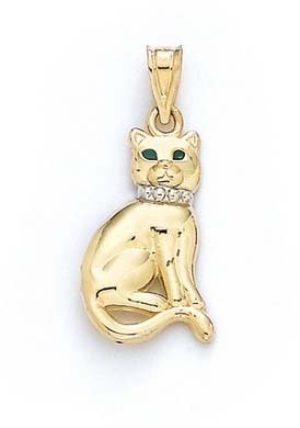 Émail rond 14 Carats Pendentif chat-JewelryWeb