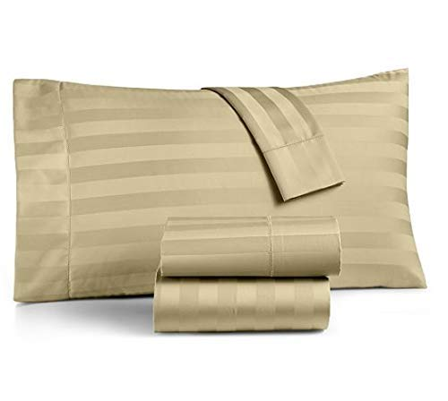 Taupe Damask Stripe - Charter Club Damask Stripe King 4-Pc Sheet Set, 550 Thread Count Pure Supima Cotton (Taupe)