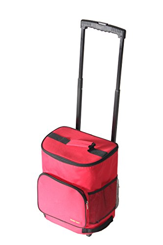 dbest products Ultra Compact Cooler Smart Cart, Red Insulated Collapsible Rolling Tailgate BBQ Beach - Cooler Folding