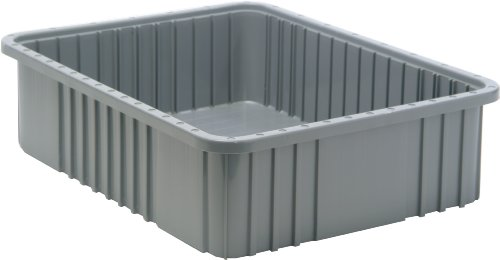 Quantum Storage Systems DG93060GY Dividable Grid Container 22-1/2-Inch Long by 17-1/2-Inch Wide by 6-Inch High, Gray, - Storage Container Grid Long Dividers