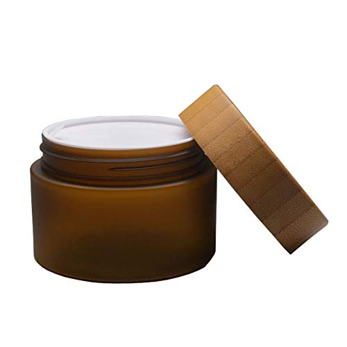 1 Pcs 150ML 5OZ Amber PET Plastic Frosted Empty Refillable Container with Natural Bamboo Lid and Liner Facial Cream Jar Bottle Lotion Pot Box Dispense Case for Balm Storage