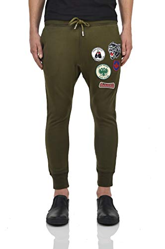 (DSQUARED2 Tracksuit Pants Green with Glamhead Patches Men - Size: XS - Color: Green - New)