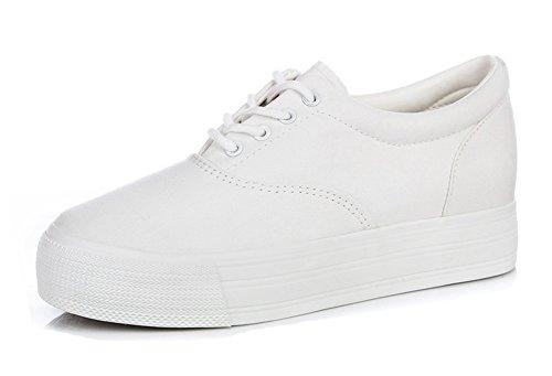 Aisun Femmes Casual Ascenseur Bout Rond Dentelle Plate-forme Cachée Coin Épais Semelle Toile Espadrilles Chaussures Blanc
