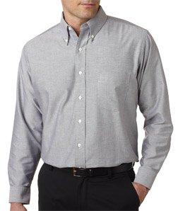 UltraClub� Men's Classic Wrinkle-Free Long-Sleeve Oxford (Charcoal) - Free Sleeve Shirt Oxford Wrinkle Long