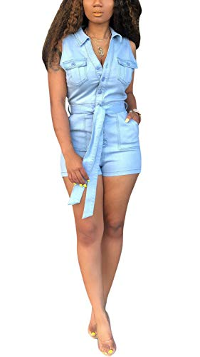 Button Lapel Pocket - Salimdy Women's Sexy Sleeveless Lapel Button Pockets Bodycon Shorts Denim Jumpsuit Rompers Light Blue X-Large