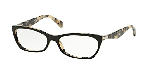 Prada PR15PV Eyeglass Frames ROK1O1-53 - Top Black/white Havana - Prada White Glasses