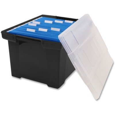 UPC 685442615281, Storex Plastic File Tote Storage Box with Snap-On Lid, Letter/Legal Size, Black/Silver (61528U01C)