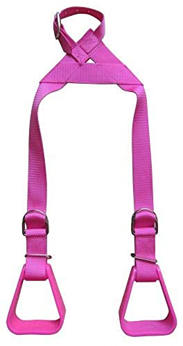 Showman Heavy Duty Pink Adjustable Nylon Little Buddy Helper Kids Stirrups