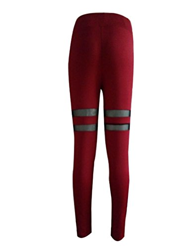 HARRYSTORE Mujer Legging elástico Deportes Pantalón Entrenamiento de Yoga Deportes Aptitud Pantalones Rojo