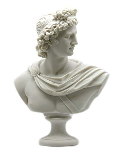 Apollo Greek Roman God Bust Head Statue Cast Marble Sculpture Handmade 12.6΄΄