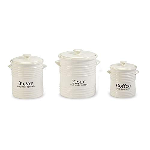 Mud Pie 4931007 Ribbed Canister Set of 3, White