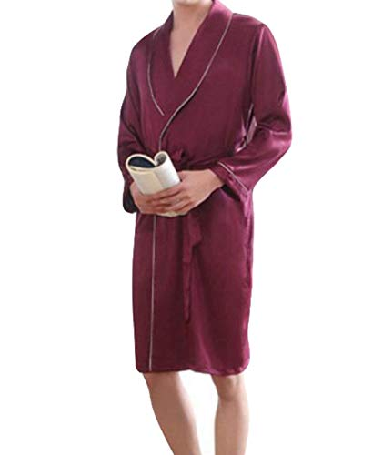 Gown Pajama Man Tracksuit Si Summer Section Loose Mens With Dressing Young Long Red t1qwcd