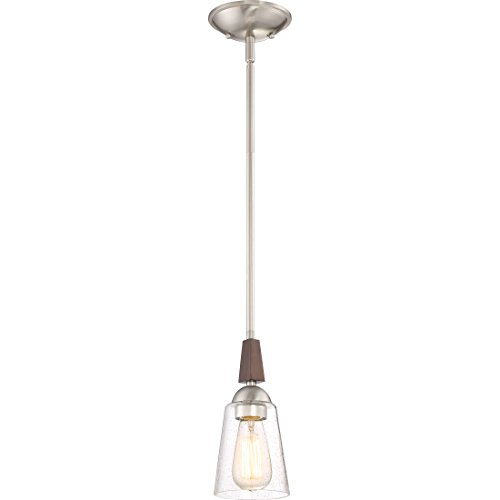 Quoizel HE1505BN Holbeck Bell Glass Mini Pendant Lighting, 1-Light, 100 Watts, Brushed Nickel (11