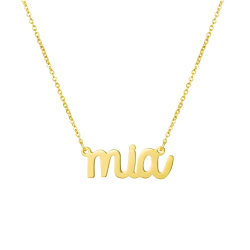Awegift Name Necklace Big Initial Gold Plated Best Friend Jewelry Women Gift for Her Mia