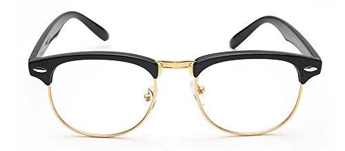 1586687c35 50 mm Vintage Retro Classic Half Plastic Frame Horn Rimmed Clear Lens  Glasses