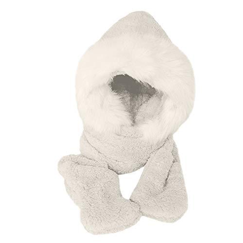 Fedora Furry Hat Ladies (Swyss Women's Thick Warmer Hat Gloves Scarf Pocket, Winter 3-in-1 Multifunction Furry Hoodie (White Fake Fur))