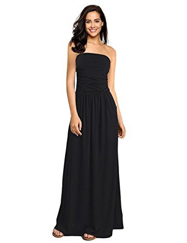 (GloryStar Women Strapless Maxi Boho Vintage Summer Beach Floral Print Hawaiian Party Long Dress (S, Black-2))