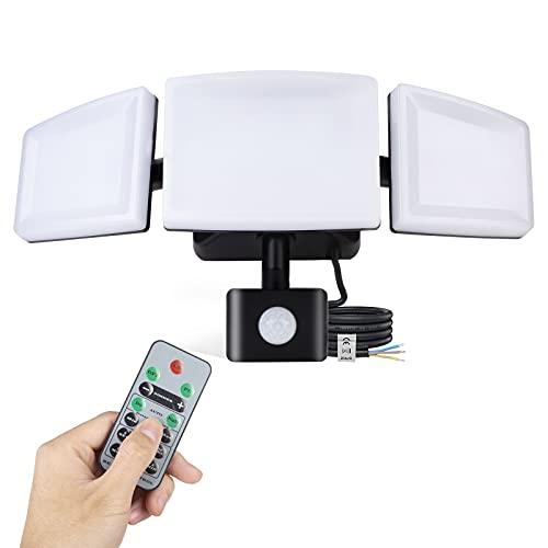 Lureshine LED Strahler mit Bewegungsmelder 45W Außen-Sicherheitsbeleuchtung mit Fernbedienung Wasserdicht IP65 6500K Kaltweiß 4200LM Helligkeit Einstellbar