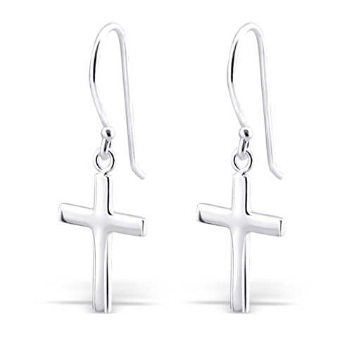 Sterling Earrings Cross - Sterling Silver Cross Silver Earrings, Dangle Earrings Sterling Silver 925 (E2881)