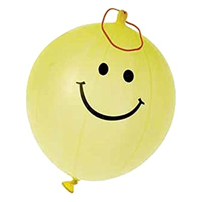 US Toy - 12 Yellow Smiley Face Smile Theme Punch Ball Balloons: Toys & Games
