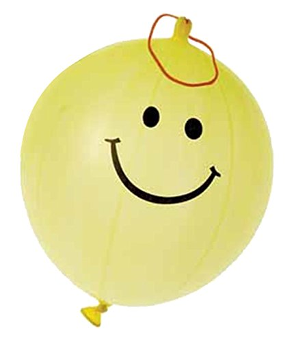 US Toy - 12 Yellow Smiley Face Smile Theme Punch Ball Balloons ()