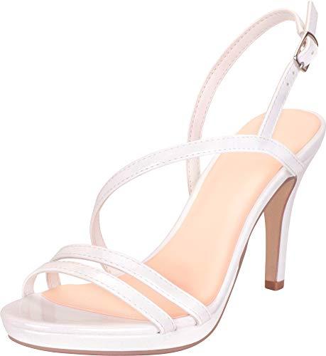 (Cambridge Select Women's Open Toe Strappy Slingback Platform Stiletto High Heel Dress Sandal,8.5 B(M) US,White Patent PU)