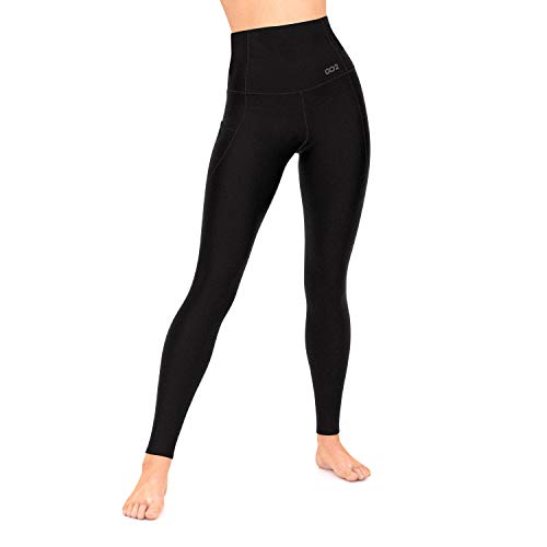 Go2 Workout Leggings for Women, High Waist Running Yoga Pants with Pockets (Black, XLarge)