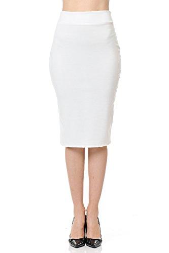 SSOULM Women's Below Knee Stretchy Midi Pencil Skirt for Office Wear Ivory 1XL