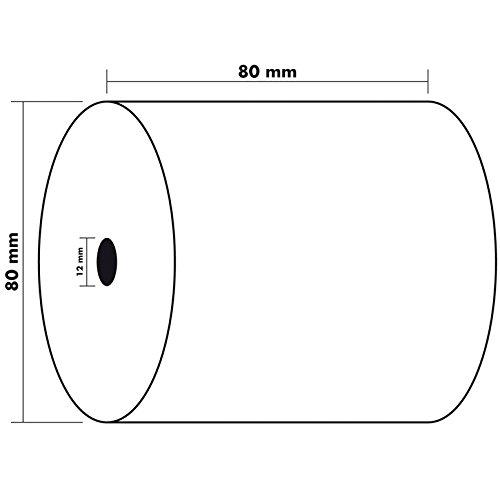 EXACOMPTA Lot de 10 Bobines 1 pli thermique 55g 80x80x12 mm sans BPA 76 m/ètres