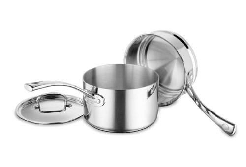 Cuisinart FCT1113-18 French Classic Tri-Ply Stainless 3-Piece Saucepan and Double Boiler (With Lid Double Boiler)