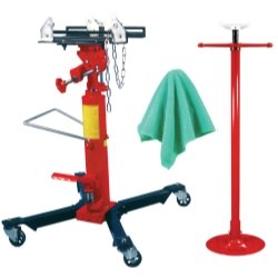 1/2 Ton Capacity Telescoping Transmission Jack With Bonus Under Hoist Stand and Detailing Cloths Tools Equipment Hand Tools