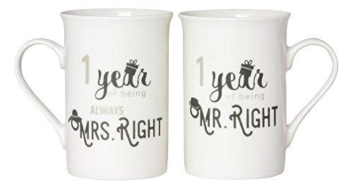 Designer 1st Anniversary Mr Right & Mrs Always Right Mug Gift Set by Happy Homewares