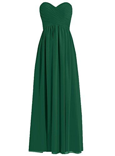 de Vestidos Oscuro Plisado Paseo Gasa HUINI Novio Fiesta Largo Verde Vestidos de dama honor fgUqXPwxU