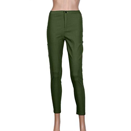Skinny Pantalones Sólido Vaqueros Mujeres Alta Informal Grün Stretch De Fit Slim Color Lápiz Botón Cintura Las Elástico Acogedor Mezclilla IIpxr