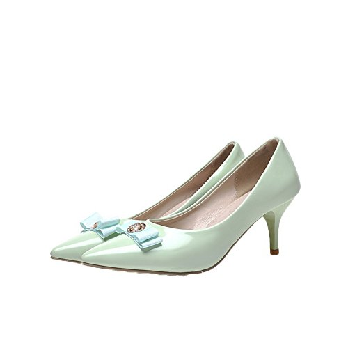 Pu Pumps Toe Kitten LightGreen Pull Shoes On Closed Round Women's Solid Heels WeiPoot wFvTEE