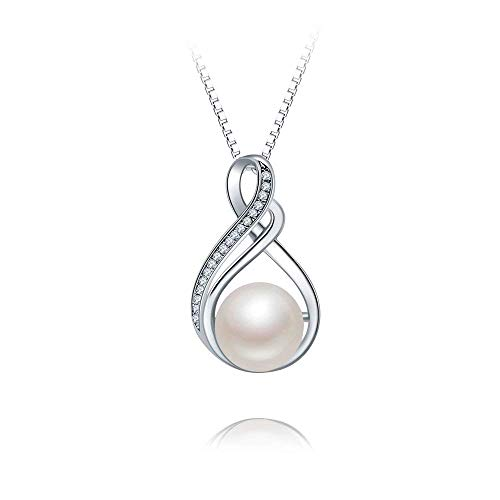 925 Sterling Silver 10mm Freshwater Cultured Pearl Infinity Pendant Necklace Fashion CZ 18inch Chain for Women Grils