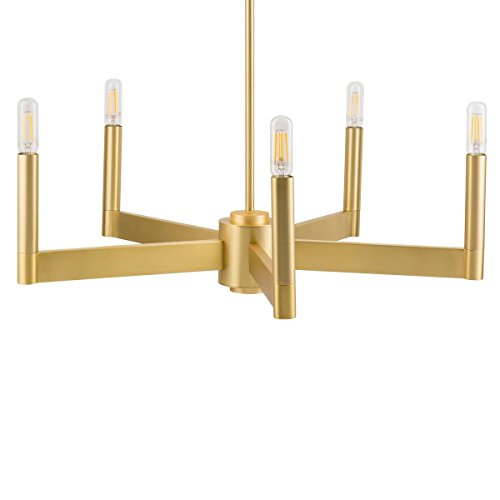 Trento Modern 5 Light Chandelier - Satin Brass w/Bulbs - Linea di Liara LL-CH424-3SB