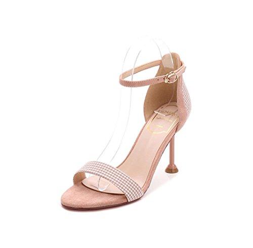 Pink de HJHY® de Moda Abierta Punta de de Tacón con Sandalias Abierta Punta Zapatos Sexy Verano Sandalias de Sandalias Aguja wqrpSCHqXW