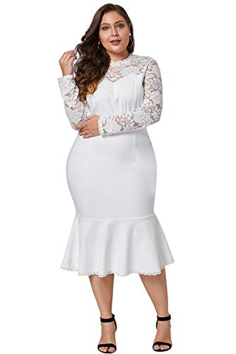 LALAGEN Womens Plus Size Lace Long Sleeve Cocktail Party Mermaid Midi Dress White 2X-2