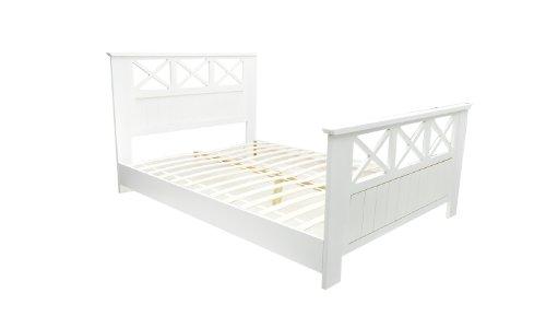 Bett weiß holz  Bett mit Lattenrost 140x200 Holzbett Doppelbett Bettgestell Holz ...