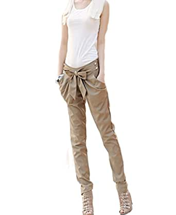 Imixcity Women's Bowknot Baggy Pants Solid Casual Skinny Trousers£¨Khaki£¬S)