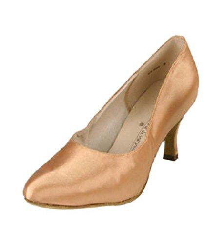 Zapato De Baile Stephanie Ladies Tan Satin Ballroom 95001-55 Con Tacón De 2.5 Pulgadas (6.5)